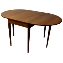 Early Danish Midcentury Drop-Leaf Table by Frits Henningsen, Six Legs, Oak