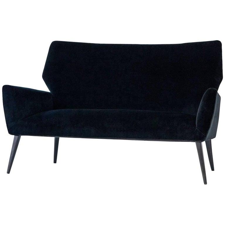 italian mid century modern sofa with new black velvet. Black Bedroom Furniture Sets. Home Design Ideas