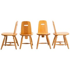 "Eero Aarnio 1950s ""Pirrti"" dining chairs in pine produced by Laukaan Puu"