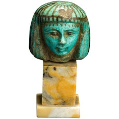 Ancient Egyptian Faience Female Head, Late New Kingdom