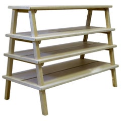 Large Set of Bleached Wood Shelves, Circa 1920s