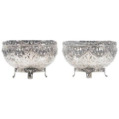 Pair of Decorative 19th Century German Silver Bowls