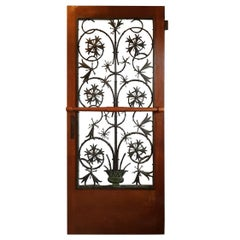 Rare Early 20th Century Dutch Brons Art Nouveau Door Grille in a Oak Door