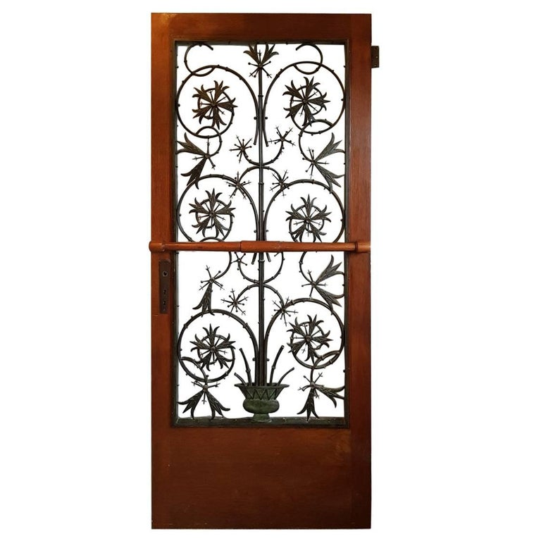 Rare Early 20th Century Dutch Brons Art Nouveau Door Grille in a Oak Door For Sale