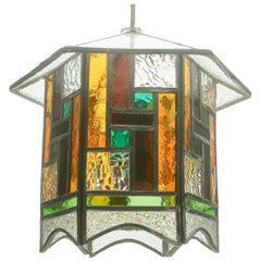 Studio Stained Glass Lantern Chandelier with Iron Chain, Arts and Craft, 1930s