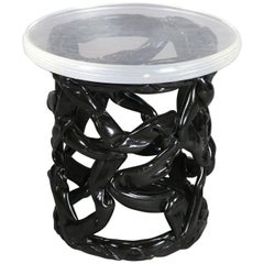 Mid Century Modern Black Taffy & Lucite Plant Stand, Mid 20th Century