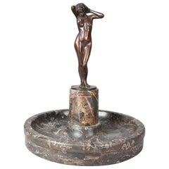 Antique Art Deco German Bronze Figural Sculpture by J. Plessner of Nude Woman