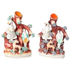 Pair of English Staffordshire Porcelain Figural Woodland Bud Vases, 19th Century