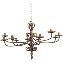 20th Century Spanish Gilt Iron Chandelier