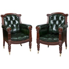 Pair of Georgian Mahogany Library Armchairs
