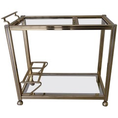 Modern Brass and Glass Drinking Trolley Removable Tray