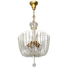 Fantastic Lobmeyr or Emil Stejnar White Sputnik Chandelier Brass Crystal Glass