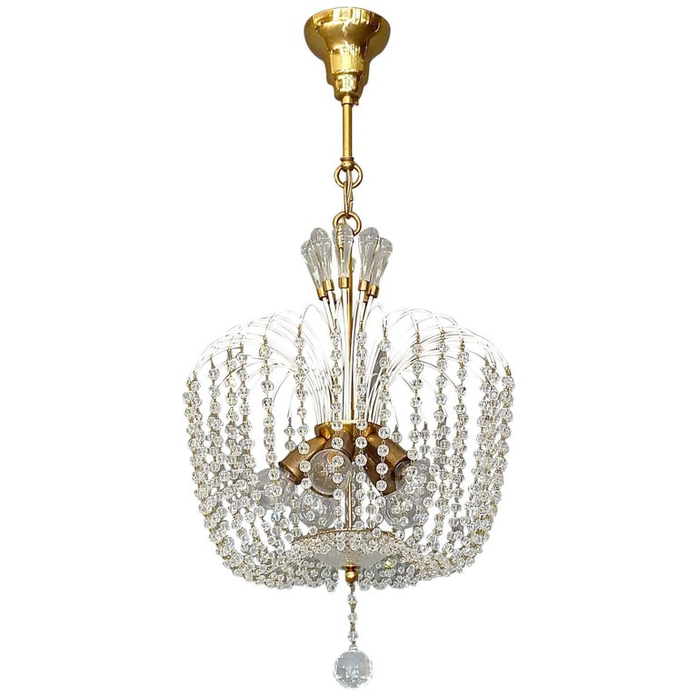 Fantastic Lobmeyr or Emil Stejnar White Sputnik Chandelier Brass Crystal Glass
