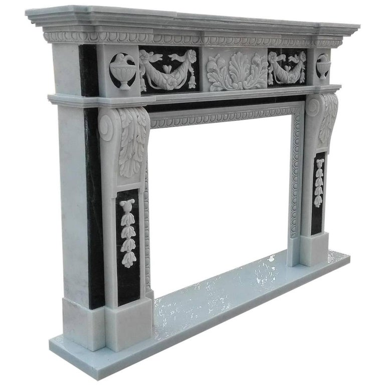 Fine Antique Style Black & White Marble Fireplace Surround