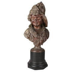 Large Antique Italian Bronzed Sculpture 3/4 Bust Young Soldier, circa 1890