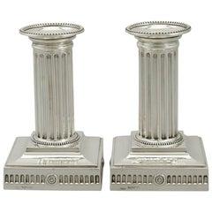 1880s Victorian Sterling Silver Corinthian Column Piano Candlesticks