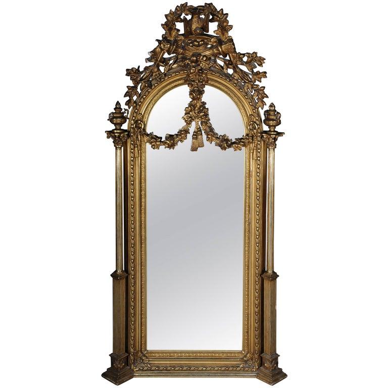 19th Century Classicistic Splendor Mirror Gilt Napoleon III For Sale