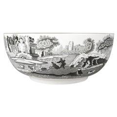 English Porcelain Black Transfer Ware Serving Bowl by Spode with Gilt Trim
