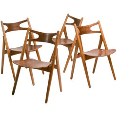 Early Set of Four CH-29 Sawbuck Chairs by Hans Wegner