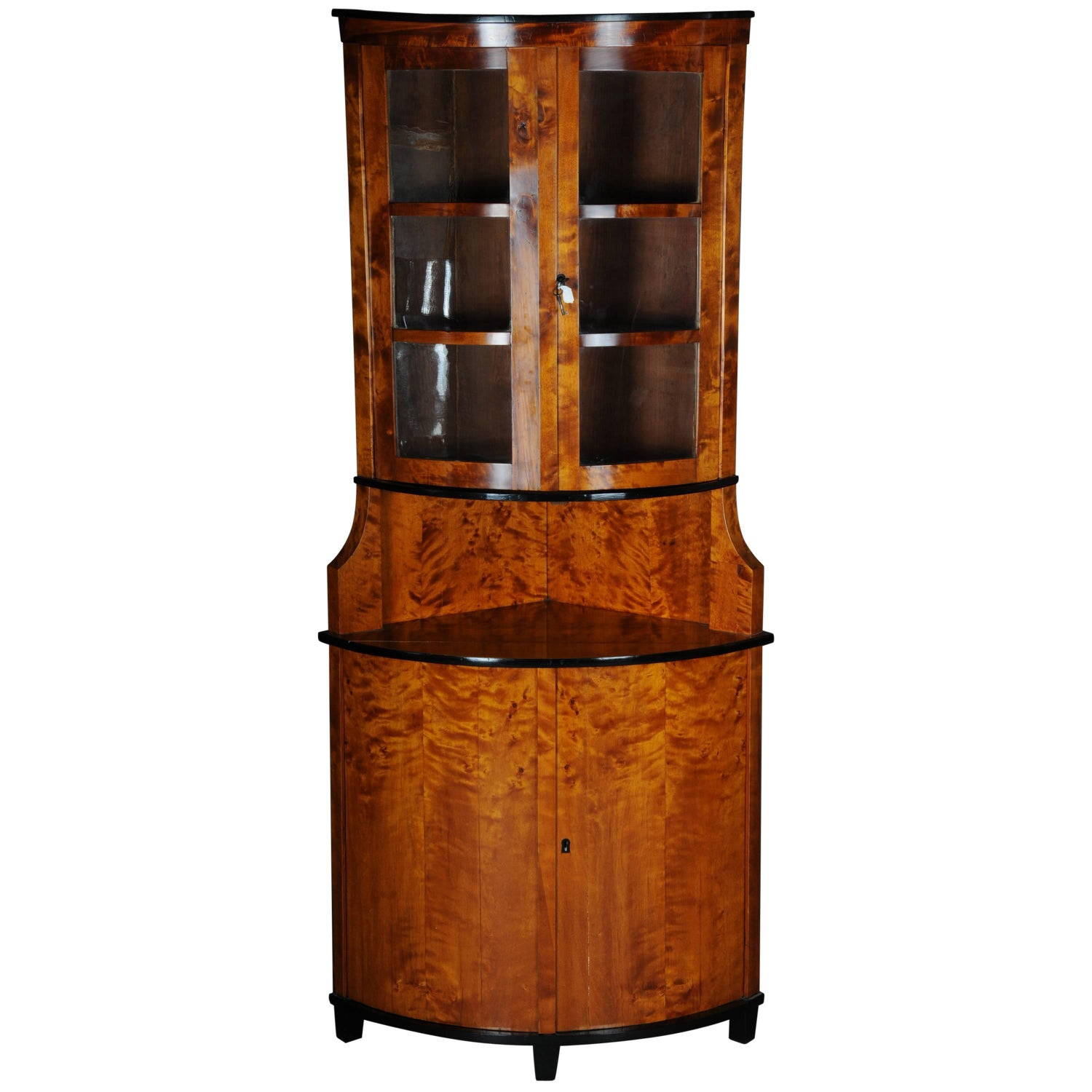 19Th Century Biedermeier Corner Cupboard, Showcase Birch 1860 For Sale