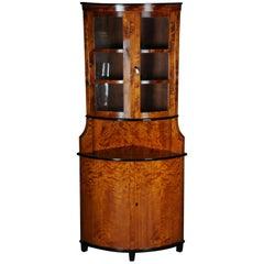 19th Century Biedermeier Corner Cupboard, Showcase Birch 1860