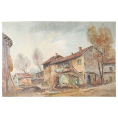 Vintage Oil on Canvas Rural Eastern European Painting by Barstow, 20th Century