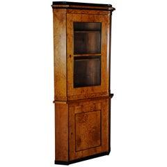 19th century biedermeier corner cupboard showcase birch for Mobel 19 jahrhundert