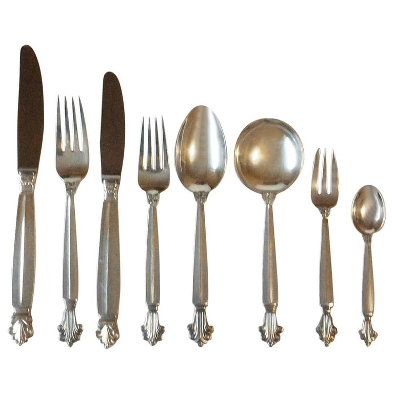 Georg Jensen Sterling Silver Acanthus Flatware Set for Six Persons, 48 Pieces
