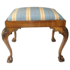 Early 20th Century Walnut Stool in the Chippendale Style