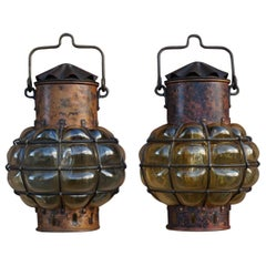 Pair of Nautical Theme Ships Wall Lamps with Amber Glass Blown in Brass Frames