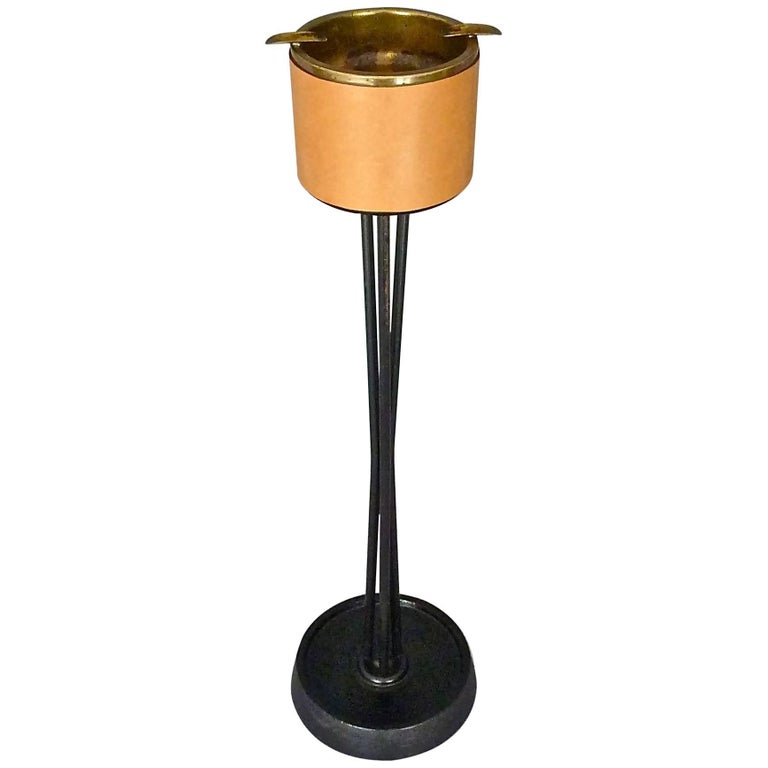 Aubock Style Tripod Ashtray Stand, Black Iron, Leather, Patinated Brass, 1950s For Sale