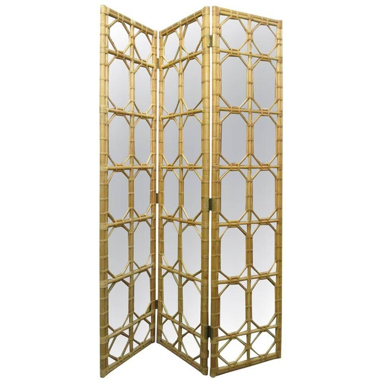 1960s Three Panel Rattan and Mirror Floor Screen Room Divider