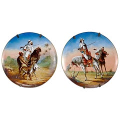 Antique Pair of Orientalist Painted Porcelain Plates