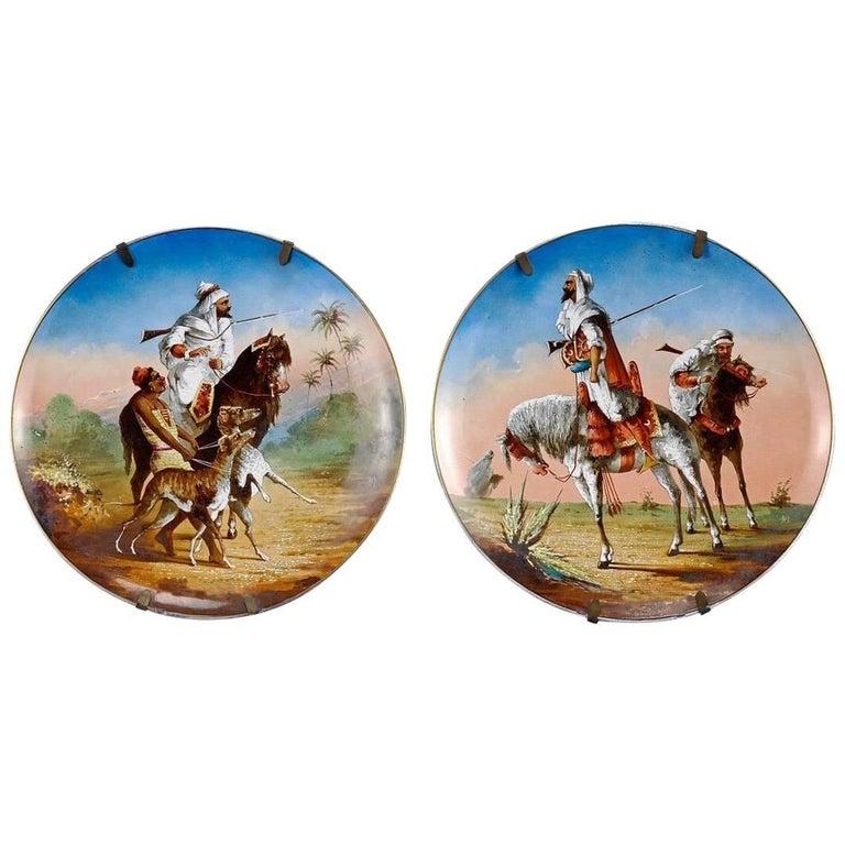 Antique Pair of Orientalist Painted Porcelain Plates