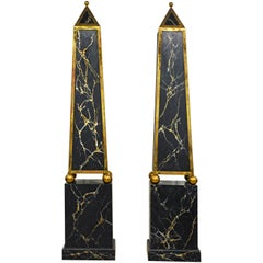 Pair of Monumental Painted and Brass Mounted Neoclassical Obelisks with Cabinets