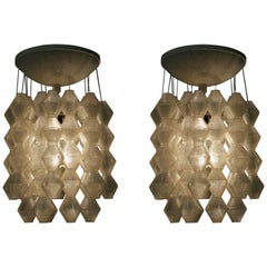 Pair of Beautiful Midcentury Design Napako Pendats