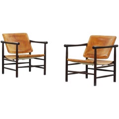 Rare Pair of Kai Lyngfeldt Larsen Safari Lounge Chairs for Soborg Denmark