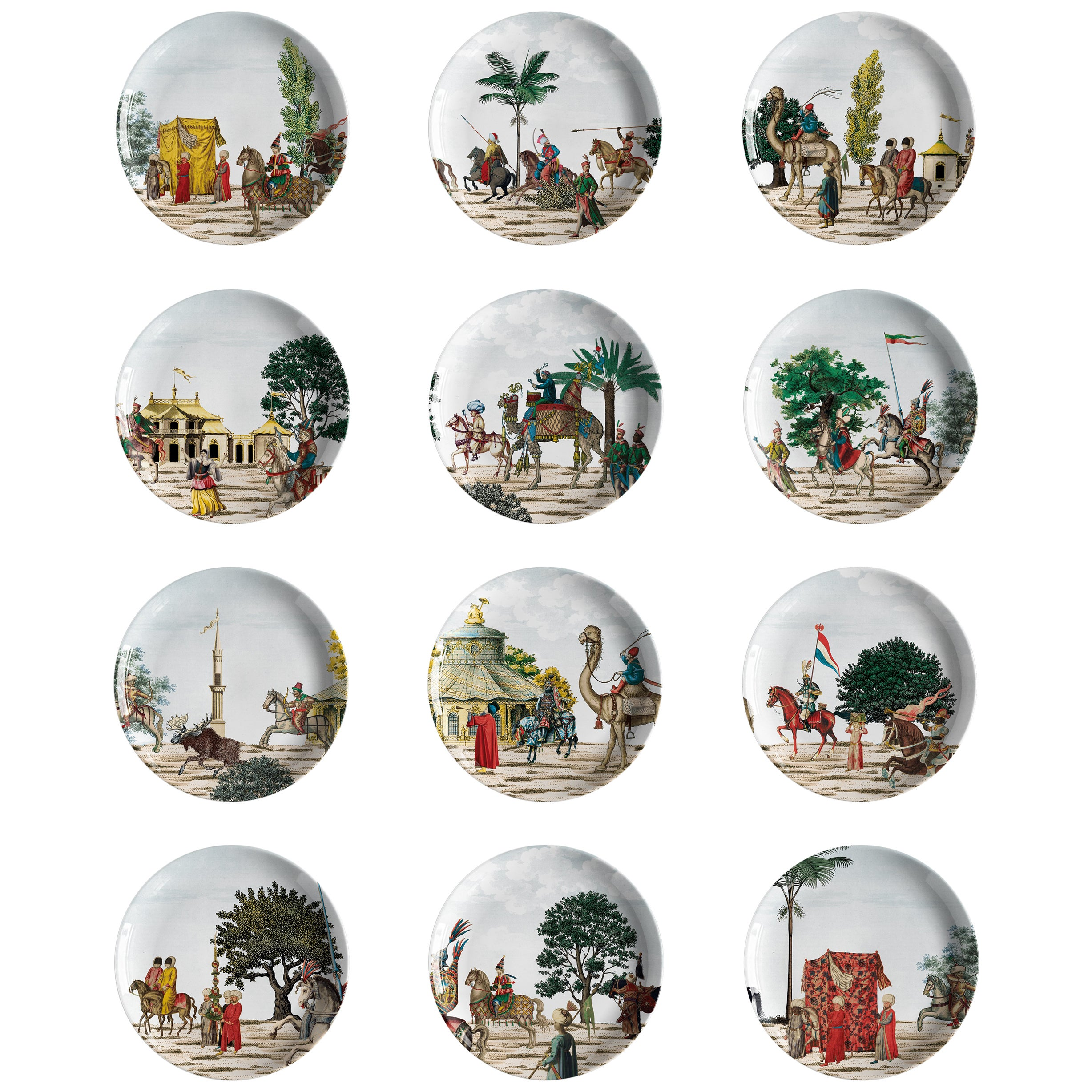 Set of 12 Corteo Porcelain Dinner Plates