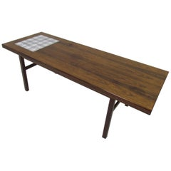 Danish Rosewood and Royal Copenhagen Tile Coffee Table