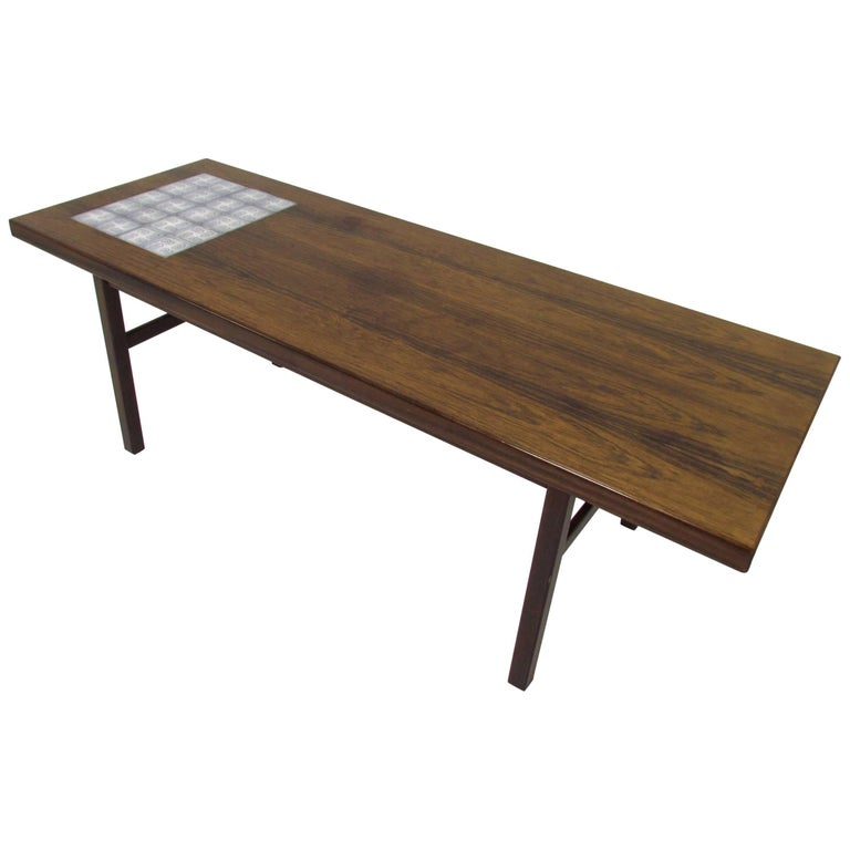 Danish rosewood and royal copenhagen tile coffee table for for Tile coffee table