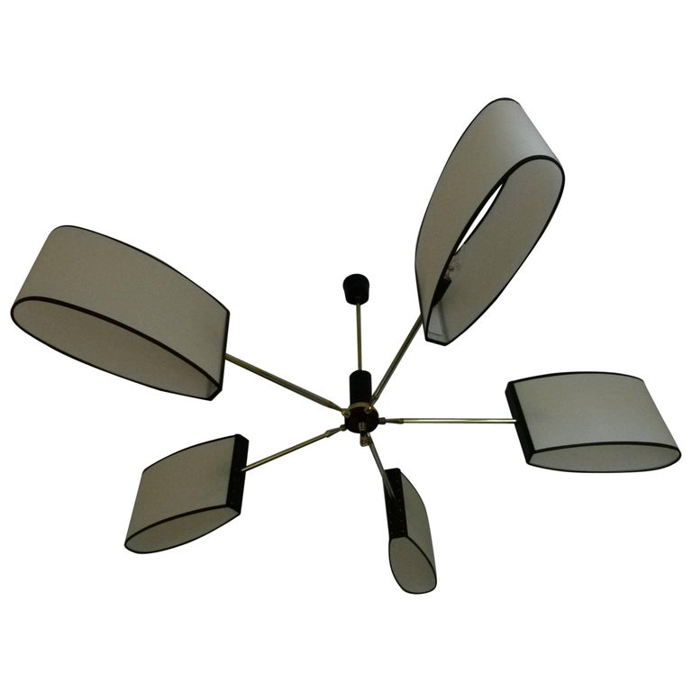 1950s Circular Chandelier with Five Lighted Arms by Maison Lunel