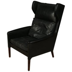 Kurt Ostervig Leather Wing Back Chair from Denmark, circa 1970