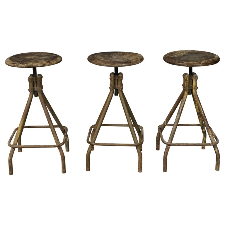 Set of Three Industrial Bar Stools from France, circa 1940