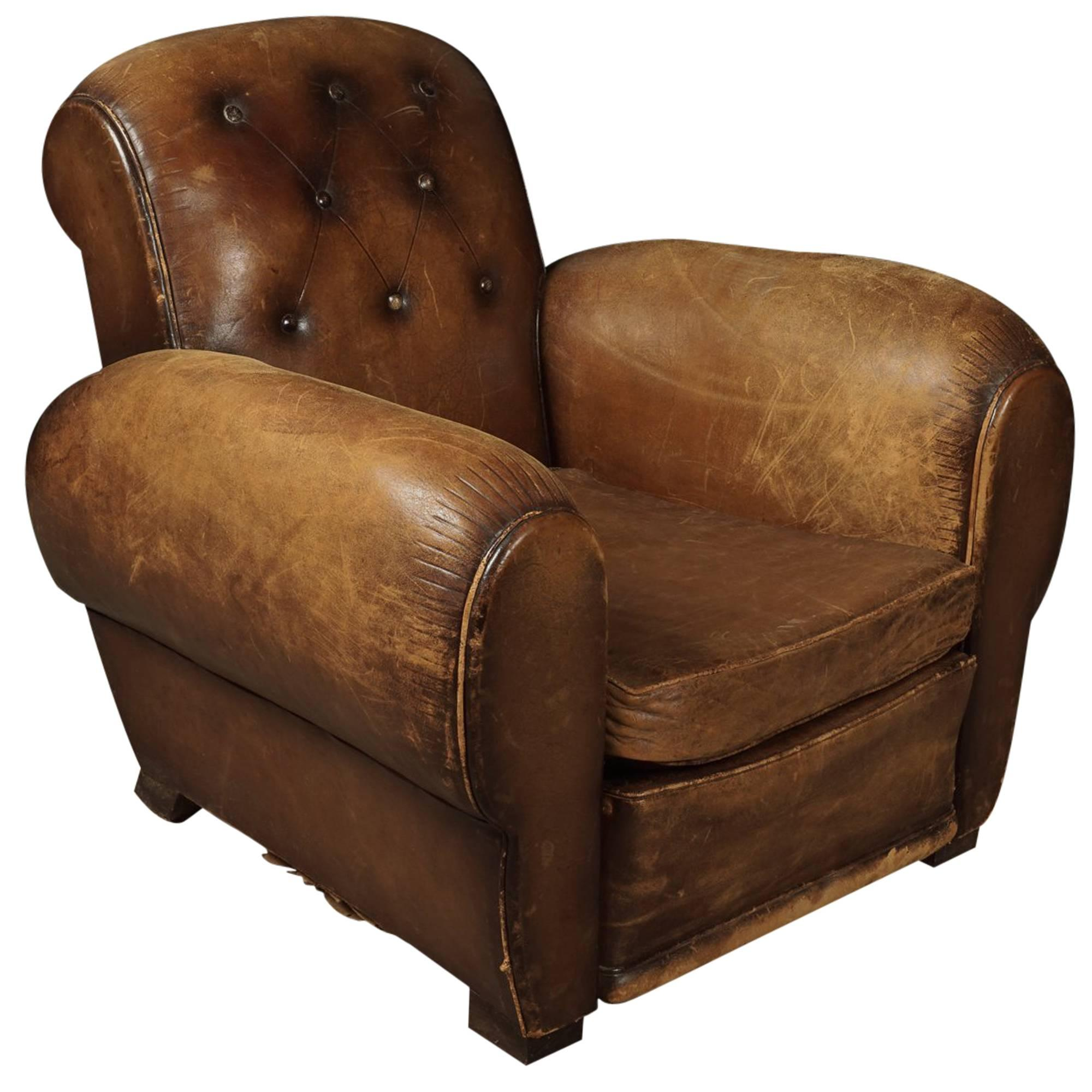 Leather French Club Chair, Circa 1930 For Sale