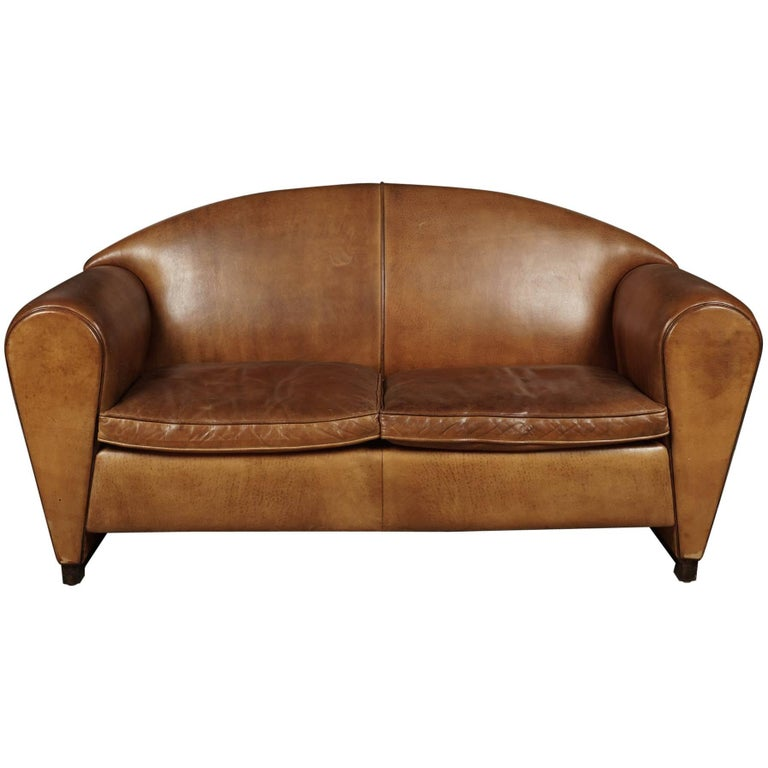 Rare Midcentury Leather Sofa From the Netherlands, circa 1970 For Sale