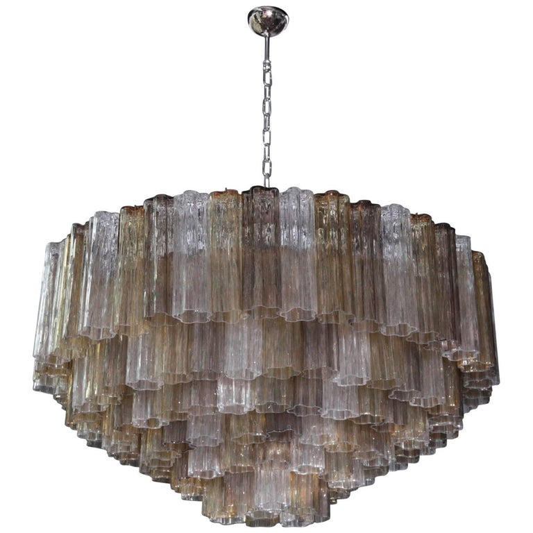 Very Huge Multi-Color Murano Tronchi Chandelier by Toni Zuccheri by Venini