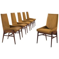 Italian Ocre Leatherette Dining Chairs in Walnut