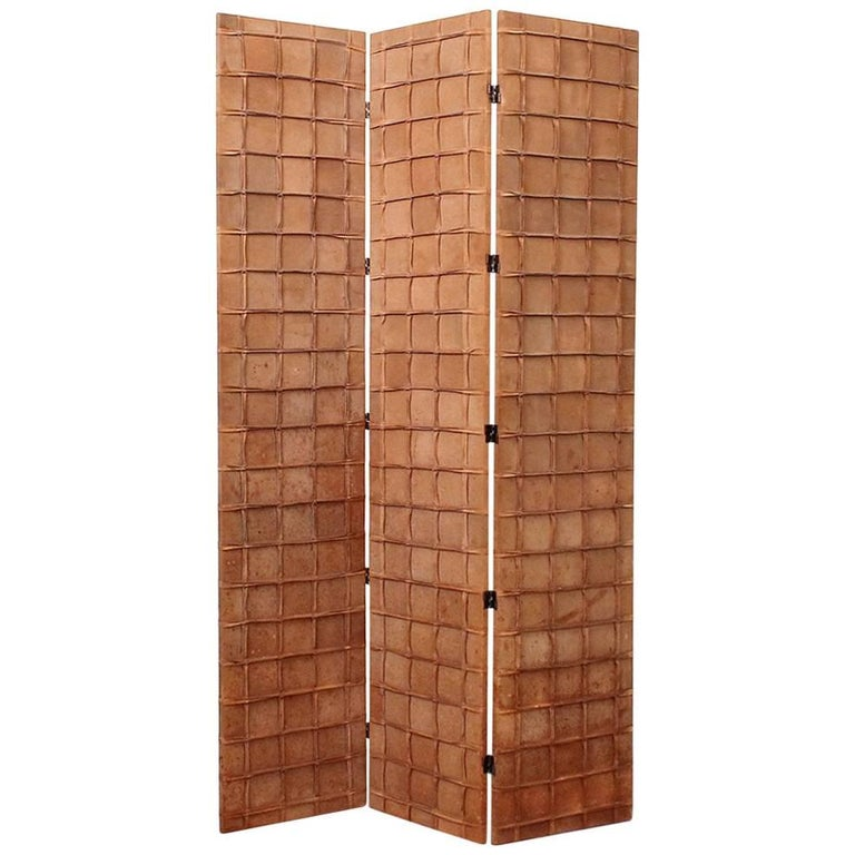 Large Decorative Suede Room Divider Screen