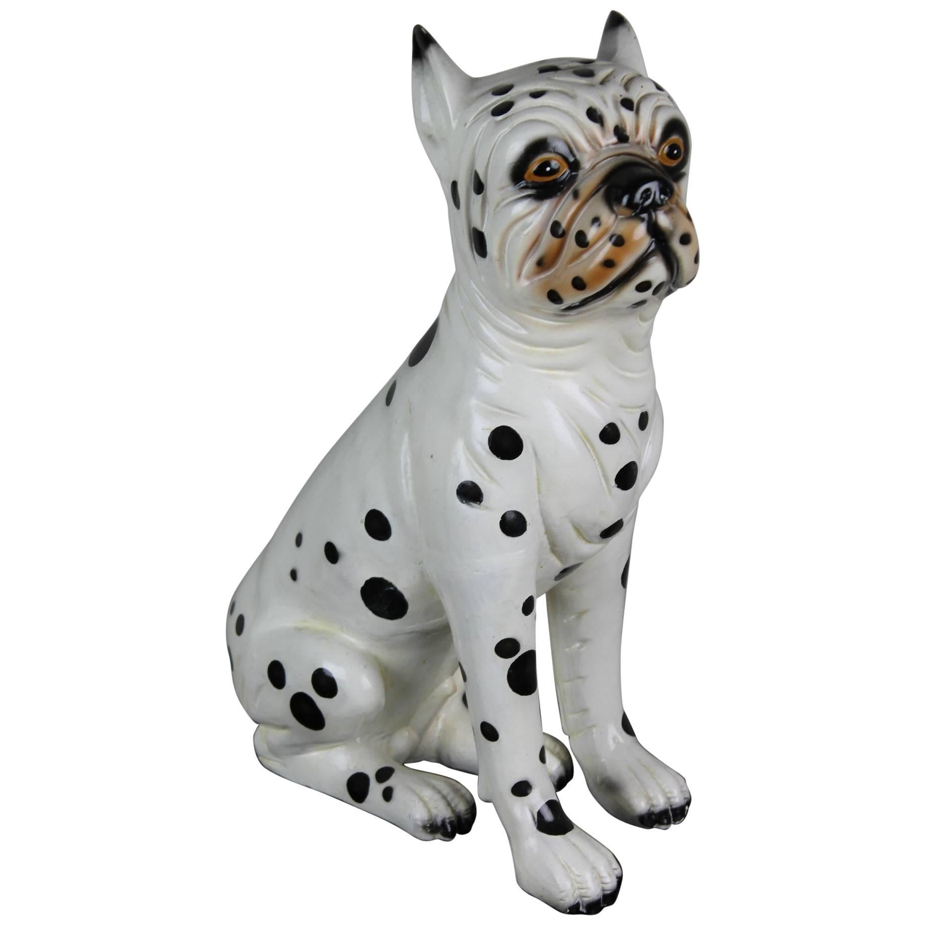 Hand-Painted Ceramic Dog Sculpture, Dalmatian Bulldog, 1960s