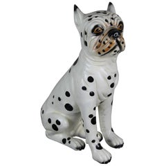 Hand-Painted Ceramic Dog Sculpture, Dalmatian Bulldog, 1960s